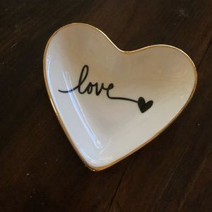Other - LOVE ❤️Gold Rimmed Ring Dish